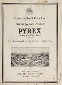 Canadian retail price list: there are now 50 new designs in Pyrex oven ware