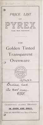 Price list of Pyrex: the golden tinted transparent ovenware (British catalog)