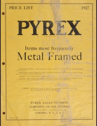 Price list : Pyrex, items most frequently metal framed