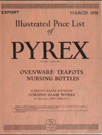 Illustrated price list of Pyrex Ovenware, teapots, nursing bottles: Export, March 1928