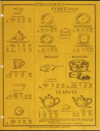 Illustrated price list of Pyrex ovenware, teapots, nursing bottles: Western, January 1929