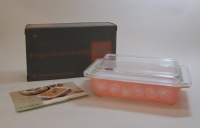 "Pyrex ""Pink Daisy"" 2 Quart Casserole with Lid in Original Box"