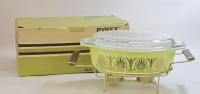 "Pyrex ""Golden Classic"" 2-1/2 Quart Casserole with Twin Candle Warmer in Original Box"