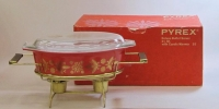 "Pyrex ""Golden Poinsettias"" 2-1/2 Quart Deluxe Buffet Server in Original Box"