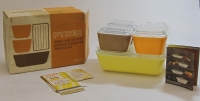 "Pyrex ""Town and Country"" Oven/Refrigerator/Freezer Set in Original Box"