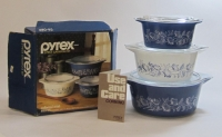 "Pyrex ""Colonial Mist"" 3-Piece Casserole Set in Original Box"