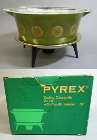 "Pyrex ""Zodiac"" Casserole with Lid, Stand, and Original Box"