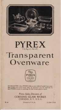 Pyrex: transparent ovenware, E-41