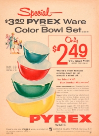 """Special – $3.50 Pyrex Ware color bowl set . . . only $2.49"", Corning Glass Works, Published in Family Circle, June 1955. CMGL 98315"