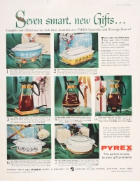 """Seven smart, new gifts... complete your Christmas list with these beautiful new Pyrex casseroles and beverage servers!"""