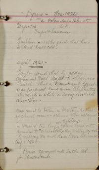Frederick Carder's notes on Pyrex. Loose-leaf notebook of notes and recipes, including pages on Pyrex (pp. 55-58). Frederick Carder, 1919-1933. CMGL 112161.