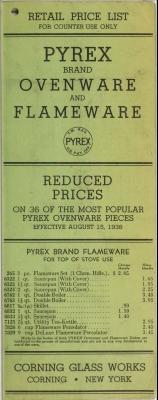 """Retail price list: Pyrex brand and Corning brand ware"""