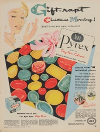 """Gift-rapt Christmas morning! She'll love her new, colourful Agee Pyrex now in gay new colours."""