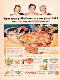 """How many mothers are on your list? They'll all love this Pyrex bowl set!"" Corning Glass Works, Published in unknown periodical, 1943. CMGL 140170"
