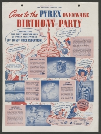 """Come to the Pyrex ovenware birthday party"" advertisement"
