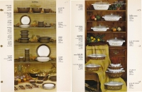 Catalog page of Corning tableware, serving pieces, bowls and casseroles in Terra, Golden Honeysuckle, and Early American patterns