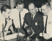 Engineers responsible for development of the Terra line at Corning's Charleroi, Pennsylvania plant. Corning Gaffer, September 1964.