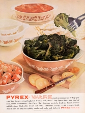 Pyrex Ware works so many ways to help you--not just to serve temptingly but to mix, cook, store!